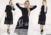 Черное женское платье с кружевом