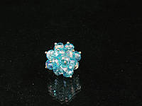 Кольцо из чешского стекла в металле, голубое