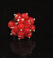 Кольцо из чешского стекла в металле, красное