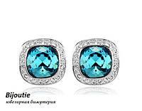 Серьги ДЖЭННИ BLUE  ювелирная бижутерия белое золото 18к декор кристаллы Swarovski