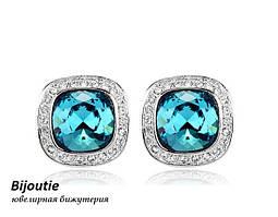 Сережки ДЖЭННИ BLUE ювелірна біжутерія біле золото 18к декор кристали Swarovski