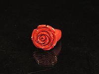 """Кольцо из глины под коралл """"роза"""""""