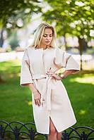 Стильное женское пальто из кашемира бежевое
