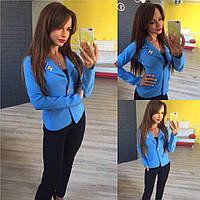 Женский стильный короткий пиджак 137 / голубой