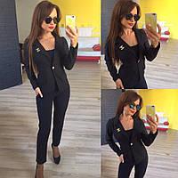 Женский стильный короткий пиджак 137 / черный