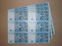 5 гривень 6 банкнот на аркуші