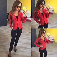 Женский стильный короткий пиджак 137 / красный