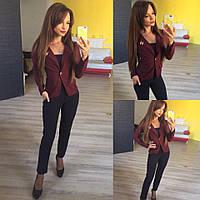 Женский стильный короткий пиджак 137 / бордо