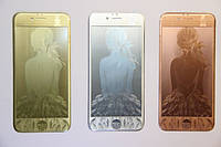 Защитное стекло с рисунком Girl for iPhone 5/5S/SE silver