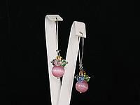 Серьги из кошачьего глаза, шарик, розовый 2