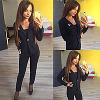 Женский стильный короткий пиджак 137 / темно-синий