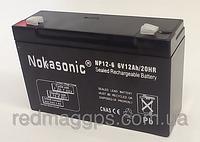 Аккумулятор NOKASONIK 6v-12 ah 1600 gm, аккумуляторная батарея 6в
