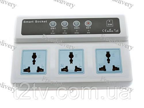 Умная тройная GSM розетка, управление по SIM-карте
