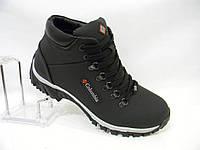 Кожаные мужские зимние кроссовки Columbia model 5b чёрные