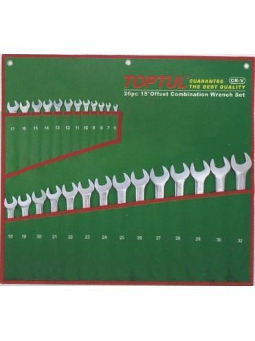 Набор ключей комбинированных 26шт.  6-32мм (полированных) TOPTUL GAAA2603