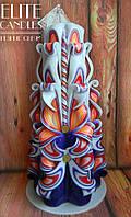 Высокая резная свеча 22см высотой, украшенная бусинками, на подарок