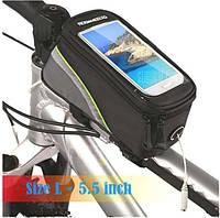 Велосумка для смартфона  Roswheel на раму с зеленой полосой