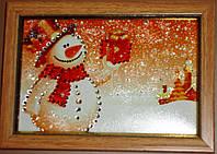 Новогодняя картина сувенир со стразами Снеговик