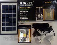 Портативный аккумулятор c солнечной батарей + 2 светодиодные лампы и прожектор GD LITE GD 8032