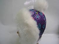 Шапка - Снежка (фиолетовая сердечки)