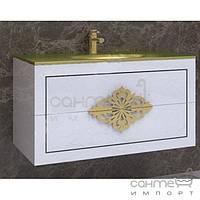 Мебель для ванных комнат и зеркала Marsan Тумба подвесная без раковины Marsan Christine 1000 белый, фурнитура золото
