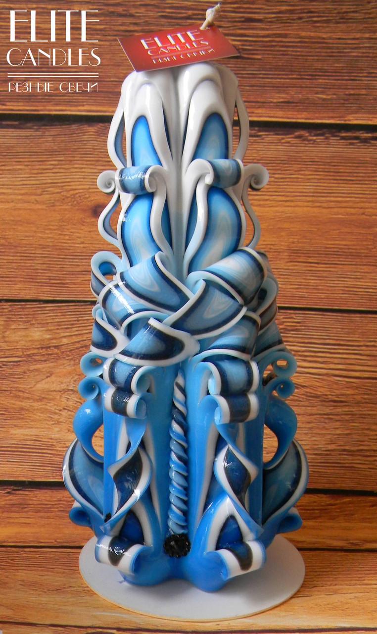 Высокая резная свеча 22см высотой сине-голубая, украшенная черными бусинками, на подарок