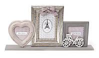 "Фотоколлаж ""Велосипед серебро"", 49x6x24см, на 3 фотографии."