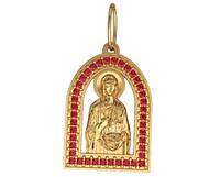 Красивый золотой кулон с камнями 585* пробы в форме ладанки