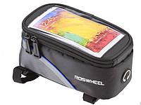 Велосумка для смартфона  Roswheel на раму с синей полосой