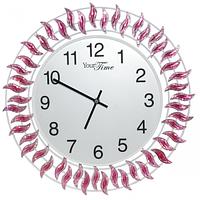 Часы настенные с камнями фиолетовый металл 40х40 см Your Time 02-224
