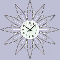 Часы настенные с камнями белый металл 40х40 см Your Time 02-225