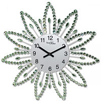 Часы настенные с камнями зелёный металл 40х40 см Your Time 02-225