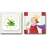 Часы настенные на холсте 2х секционные Царевна-лягушка детские 28*28см 1 секция Your Time 06-103