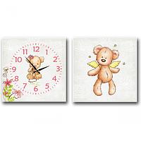 Часы настенные на холсте 2х секционные Мишка детский 28*28см 1 секция Your Time 06-110