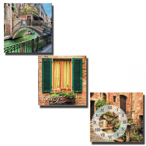 Часы настенные на холсте 3х секционные Каналы Венеции 30*30см 1 секция Your Time 06-303