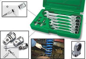 Набор ключей комбинированных с трещоткой и шарниром 10ед. 8-19мм + переходники TOPTUL GAAI1003, фото 2