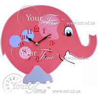 Часы настенные Слон розовый детские МДФ 33,5 * 4,5 * 27,5см Your Time 05-205