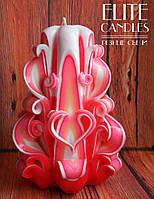 Розовая свеча ручной работы 14 см высотой - с резьбой в форме сердечка, красивый подарок