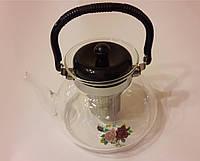 Чайник стеклянный для заварки чая и кофе Helios 1400 мл.