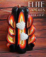Свеча пламенная ручной работы 12 см высотой - с белыми сердечками
