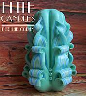 Свеча бирюзовая, ручной работы 12 см высотой - с бусинками