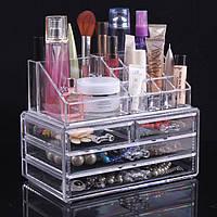 Акриловый органайзер для косметики настольный Cosmetic Organizer Makeup Container Storage Box 4 Drawer,
