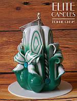 Резная свеча 12 см высотой ручной работы, украшена бусинками