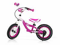 Беговел детский Milly Mally Hero с надувными колесами и тормозом (Польша), розовый, фото 1