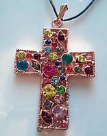 Крест, подвеска позолота 585 пр