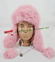 Шапка детская на девочку с натуральным мехом - кролик