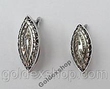 Серьги посеребренные с алмазной огранкой