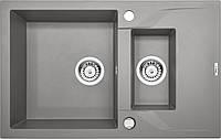 Мойка гранитная 78*49 глубина 19 см Deante серии Andante серый металлик прямоугольная артикул ZQN S513