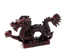Дракон с жемчужиной каменная крошка коричневый