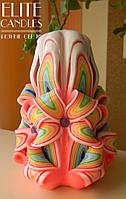 Резная свеча мастерской работы 12 см высотой, красивый подарок, украшение интерьера